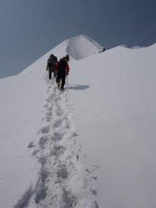 頂上に向かって登る。頂上はすぐそこだ!