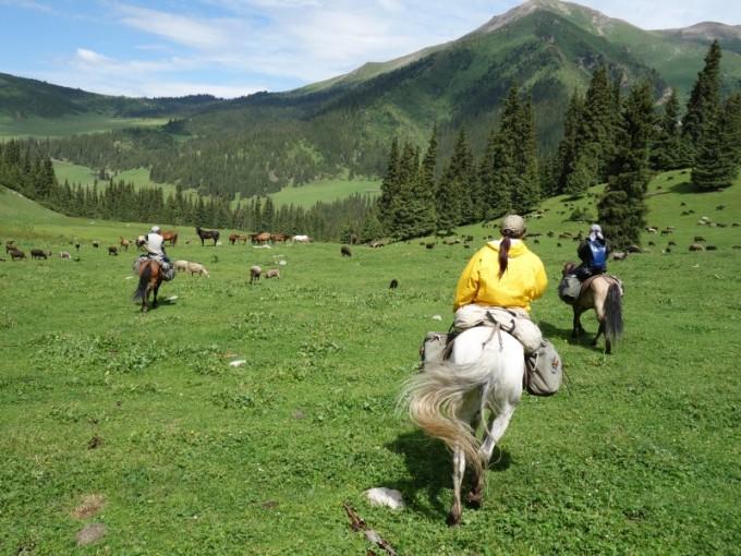 時に長閑な山間を馬で歩く
