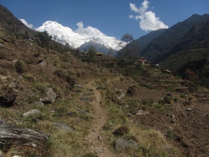 農村とヒマラヤ。この風景が見れるのもネパールならでは。